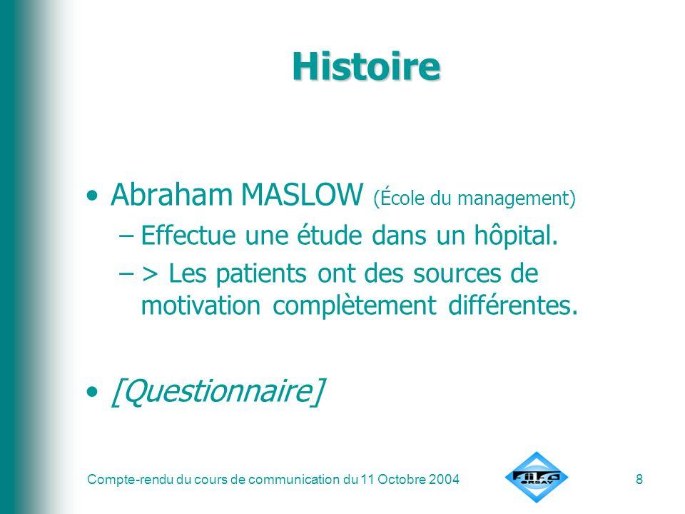 Histoire Abraham MASLOW (École du management) [Questionnaire]